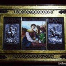 Arte: OBRA ÚNICA, OLEO SOBRE MADERA, ADORNOS REPUJADOS, HIERRO, ARTESANAL (59X41 CM). Lote 183319206