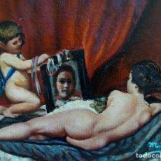 Arte: CUADRO AL ÓLEO PEQUEÑO FORMATO. SOBRE TABLA. FIRMADO. VENUS DEL ESPEJO.. Lote 183335481