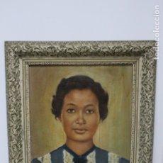 Arte: RETRATO DE MUJER. OLEO SOBRE LIENZO, FIRMADO Y FECHADO. Lote 183344037
