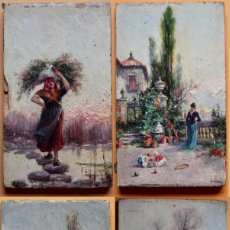 Arte: MINIATURA ÓLEO SOBRE TABLA- 4 ESTACIONES- ESCUELA CATALANA S XIX- 10,6 X 6,4 CM. Lote 183372338