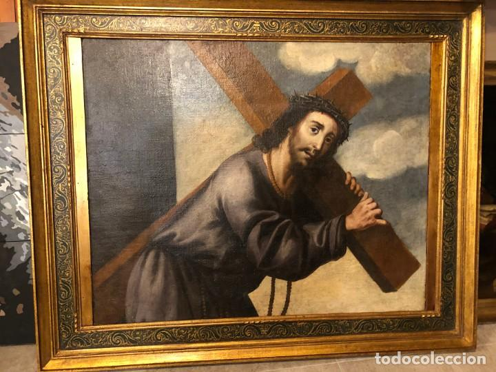EXTRAORDINARIO NAZARENO ESC. SEVILLANA S. XVII (Arte - Pintura - Pintura al Óleo Antigua siglo XVII)