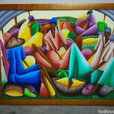Arte: PRECIOSO ÓLEO SOBRE LIENZO ARTE AFRICANO, FIRMADO ELIE HOMORE. 110X85CM.. Lote 183418473