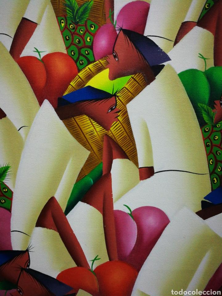 Arte: PRECIOSO ÓLEO SOBRE LIENZO ARTE AFRICANO, FIRMADO MARIO BAPTISTE. 110x85CM. - Foto 2 - 183419362