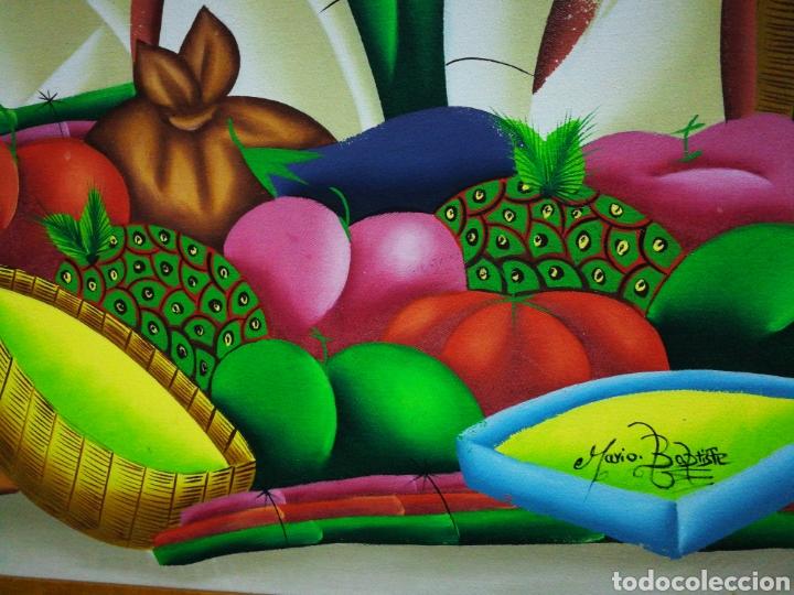 Arte: PRECIOSO ÓLEO SOBRE LIENZO ARTE AFRICANO, FIRMADO MARIO BAPTISTE. 110x85CM. - Foto 4 - 183419362