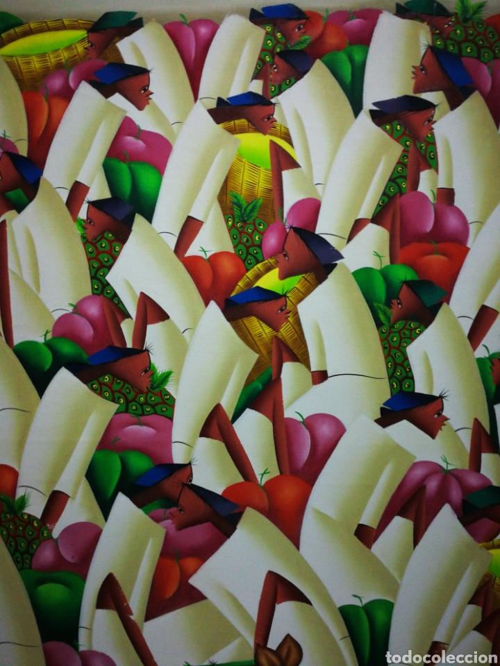 Arte: PRECIOSO ÓLEO SOBRE LIENZO ARTE AFRICANO, FIRMADO MARIO BAPTISTE. 110x85CM. - Foto 6 - 183419362