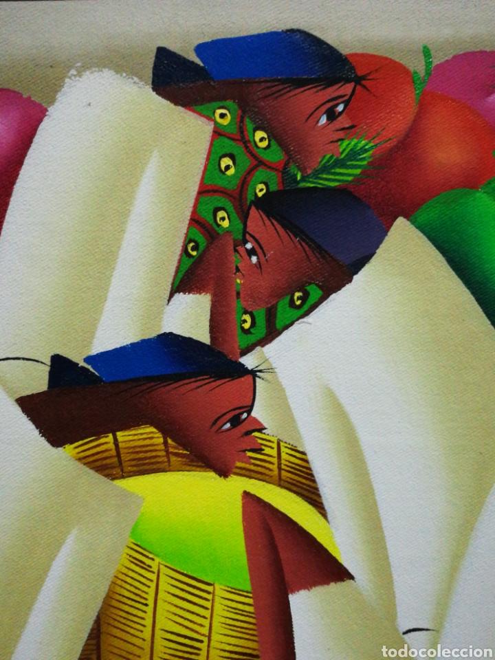 Arte: PRECIOSO ÓLEO SOBRE LIENZO ARTE AFRICANO, FIRMADO MARIO BAPTISTE. 110x85CM. - Foto 7 - 183419362