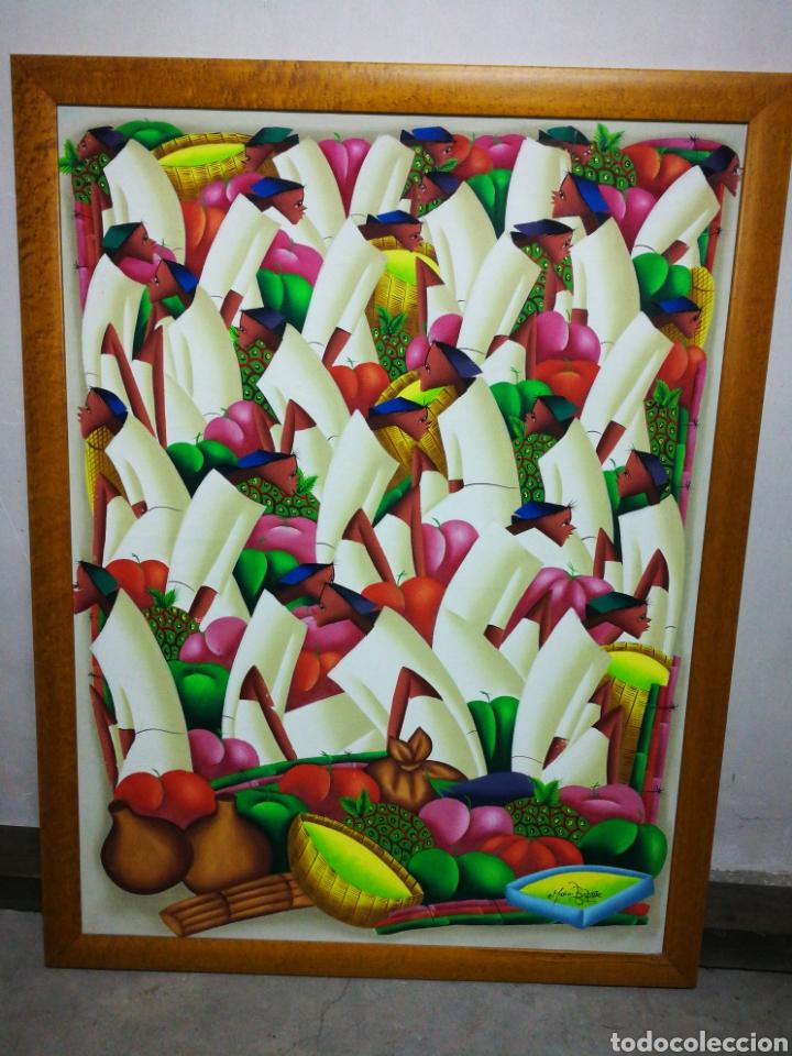 PRECIOSO ÓLEO SOBRE LIENZO ARTE AFRICANO, FIRMADO MARIO BAPTISTE. 110X85CM. (Arte - Pintura - Pintura al Óleo Contemporánea )