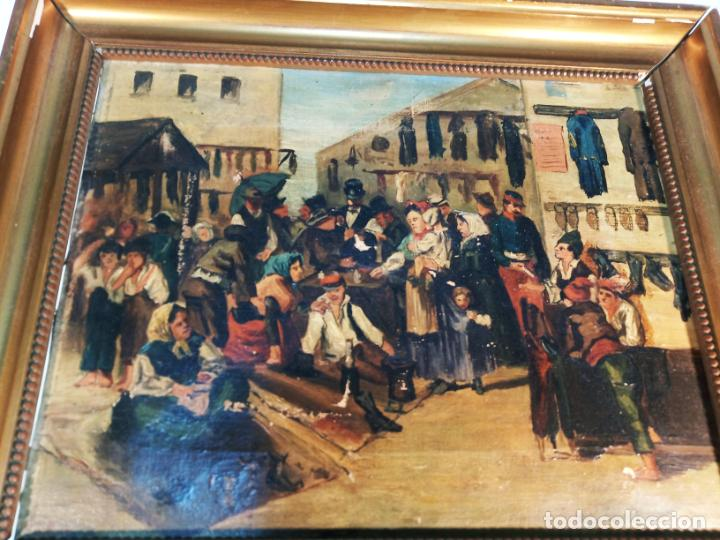Arte: Oleo sobre lienzo enmarcado. Rastro. Ribera de curtidores. Madrid. Firmado. Siglo XIX. - Foto 2 - 183421322