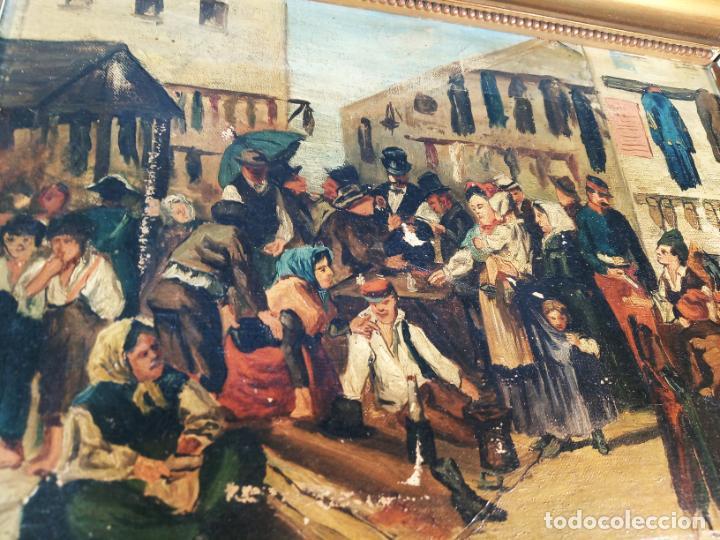 Arte: Oleo sobre lienzo enmarcado. Rastro. Ribera de curtidores. Madrid. Firmado. Siglo XIX. - Foto 3 - 183421322