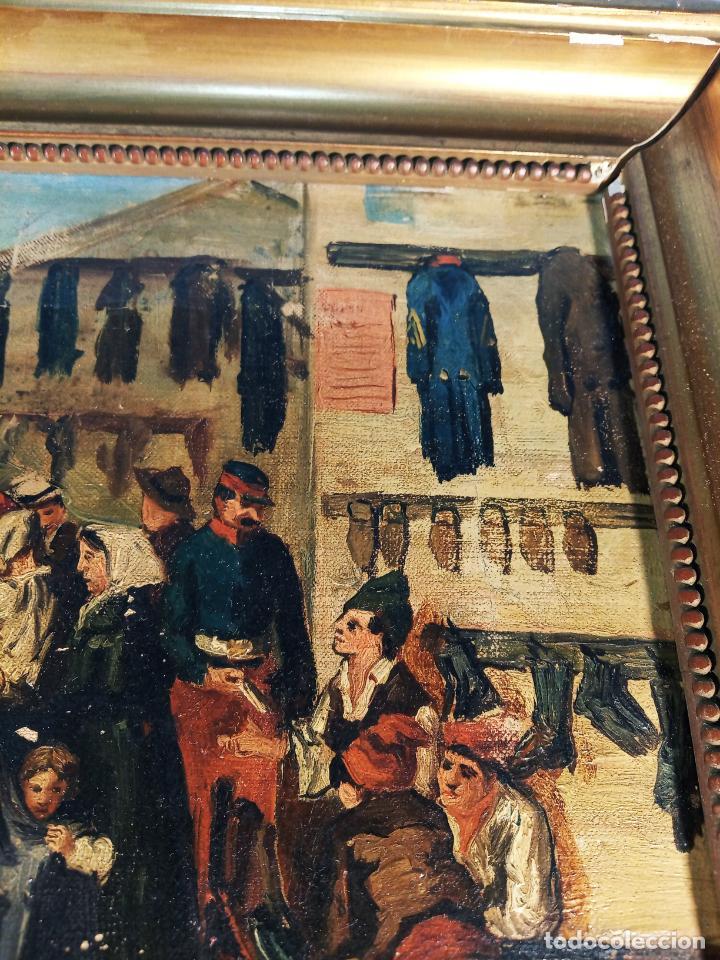 Arte: Oleo sobre lienzo enmarcado. Rastro. Ribera de curtidores. Madrid. Firmado. Siglo XIX. - Foto 4 - 183421322
