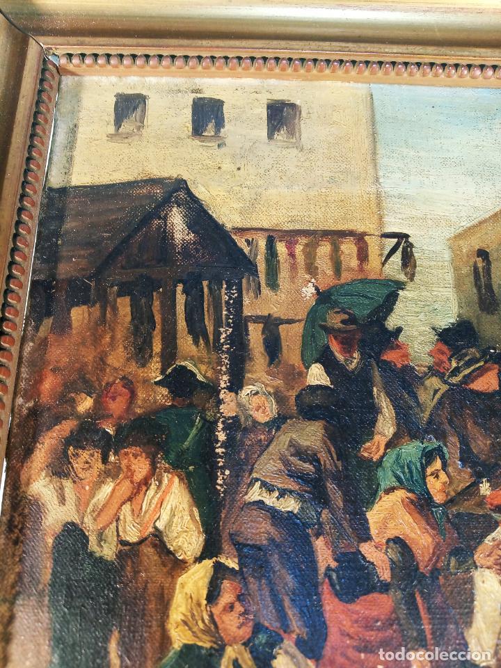 Arte: Oleo sobre lienzo enmarcado. Rastro. Ribera de curtidores. Madrid. Firmado. Siglo XIX. - Foto 5 - 183421322