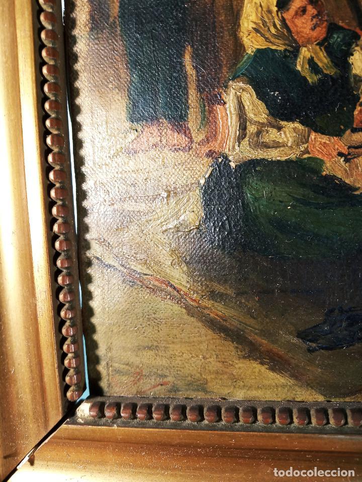Arte: Oleo sobre lienzo enmarcado. Rastro. Ribera de curtidores. Madrid. Firmado. Siglo XIX. - Foto 6 - 183421322