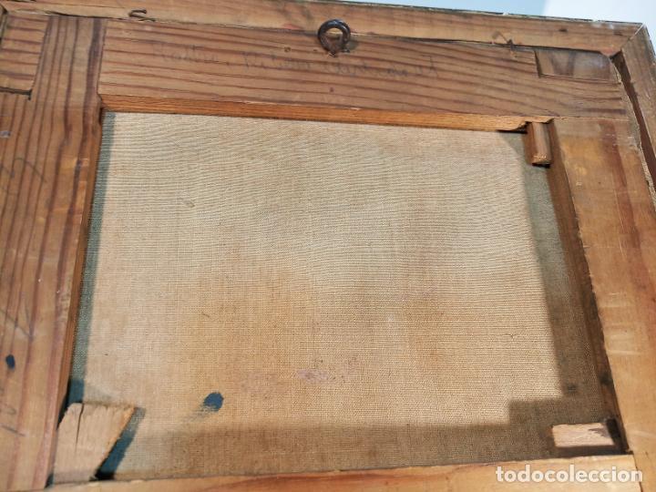Arte: Oleo sobre lienzo enmarcado. Rastro. Ribera de curtidores. Madrid. Firmado. Siglo XIX. - Foto 8 - 183421322