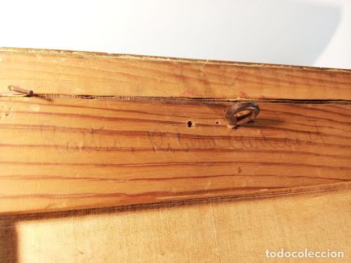 Arte: Oleo sobre lienzo enmarcado. Rastro. Ribera de curtidores. Madrid. Firmado. Siglo XIX. - Foto 9 - 183421322