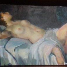 Arte: DESNUDO FEMENINO. LIENZO 40X75. FIRMADO POR SU AUTORA. MARCO ALFONSINO.. Lote 122834103