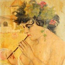 Arte: H.PASTOR - OLEO TABLA CAOBA - ALEGORIA A LA PRIMAVERA - SG XIX.. Lote 183529817