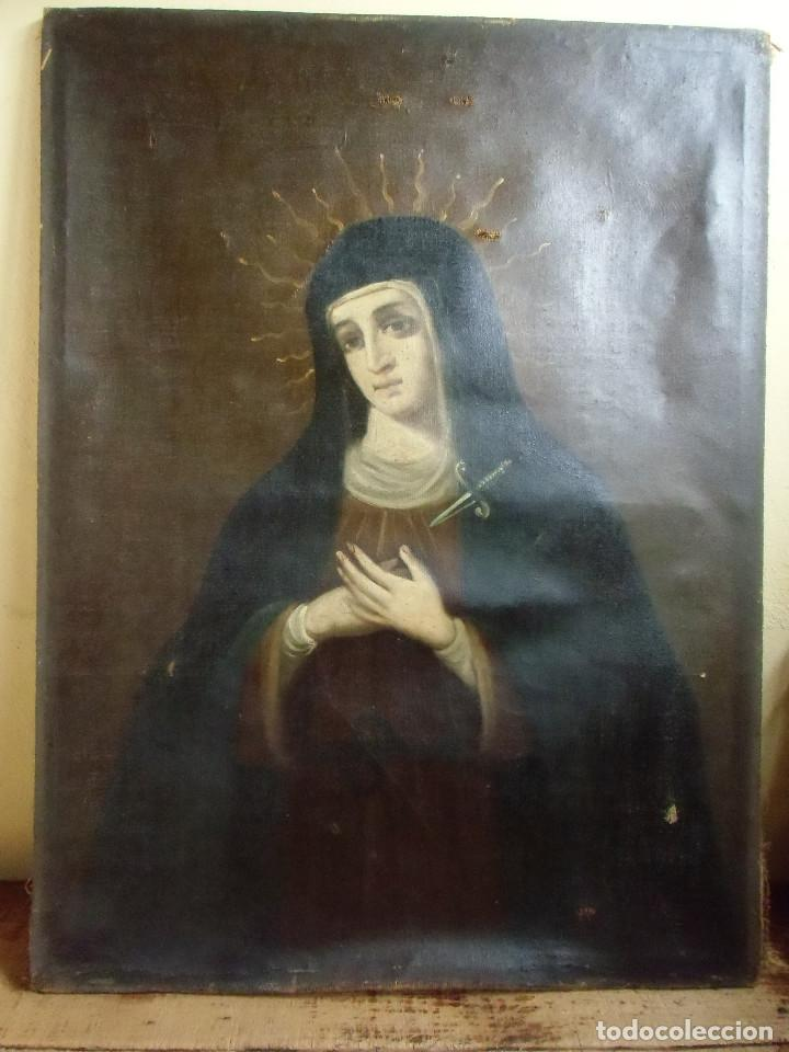 VIRGEN DOLOROSA.OLEO SOBRE LIENZO S.XVIII. (Arte - Pintura - Pintura al Óleo Antigua siglo XVIII)