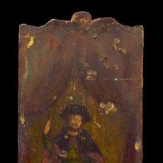 Arte: ANTIGUA TABLA PINTADA AL ÓLEO DE SAN ROQUE. POPULAR. SIGLO XVI. 35X15. Lote 180265643