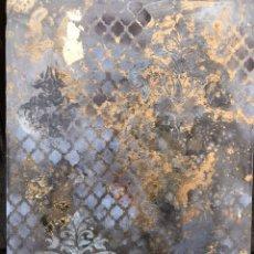 Arte: CUADRO DE LIENZO PINTADO AL ÓLEO Y PAN DE ORO . DAMASCO.. Lote 183627671
