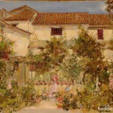 Arte: OLEO SOBRE TABLA EL JARDIN DE MI CASA DE FELIP MASO DE FALP (1851-1929). Lote 183631812