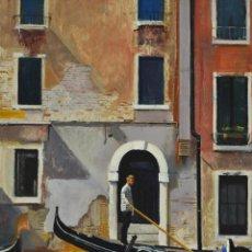 Arte: GONDOLERO EN VENECIA. PINTURA AL ÓLEO SOBRE CARTÓN COUCHÉ, 40X33CM, DE PEP ENCINAS. Lote 183659152
