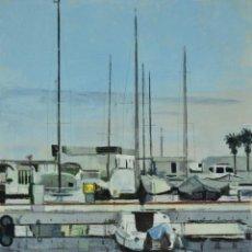 Arte: PUERTO DE AIGUADOLÇ, SITGES. PINTURA AL OLEO SOBRE MADERA, 37X27CM, DE PEP ENCINAS. Lote 183660481