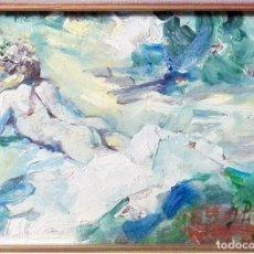 Arte: M117 IGNACIO PINAZO CAMARLENCH (1849-1916) OLEO SOBRE MADERA - MARCO 34X29,5 CM/ INTERIOR 15,5X11 CM. Lote 183676598