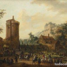 Arte: PAISAJE CON PERSONAJES POR FRANZ DE PAULA FERG PP.XVIII. Lote 183683198