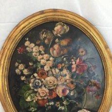 Arte: BONITO OLEO SOBRE LIENZO EN MARCO OVALADO , BODEGÓN DE FLORES. Lote 183694711