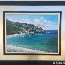 Arte: PLAYA CALA CORTINA POR JORGE CARBONELL DE 100X60. Lote 183733167