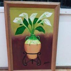 Arte: CUADRO OLEO SOBRE MADERA BODEGÓN ALCATRACES FIRMADO ADIAZ. Lote 183787171