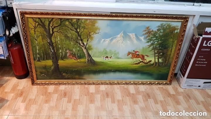 Arte: Cuadro caza a caballo oleo sobre lienzo Firmado CRUZ - Foto 2 - 210169805