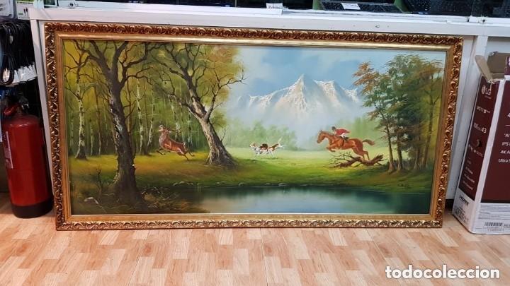 Arte: Cuadro caza a caballo oleo sobre lienzo Firmado CRUZ - Foto 3 - 210169805