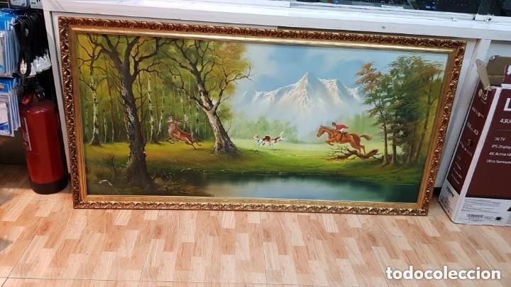 Arte: Cuadro caza a caballo oleo sobre lienzo Firmado CRUZ - Foto 4 - 210169805