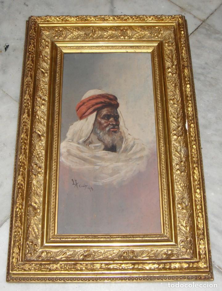 ÓLEO SOBRE TABLA. FIRMADO. CÁDIZ - 1898. MARCO DORADO. (Arte - Pintura - Pintura al Óleo Moderna siglo XIX)