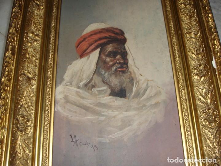 Arte: Óleo sobre tabla. Firmado. Cádiz - 1898. Marco dorado. - Foto 2 - 183798210