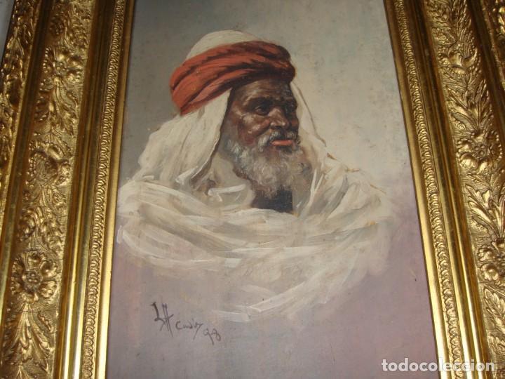 Arte: Óleo sobre tabla. Firmado. Cádiz - 1898. Marco dorado. - Foto 3 - 183798210