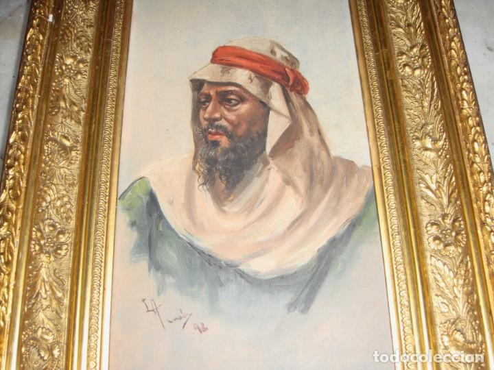 Arte: Óleo sobre tabla. Firmado. Cádiz - 1898. Marco dorado. - Foto 3 - 183798621
