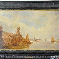 Arte: JAN VAN GOYEN (ATRIBUIDO) UN PAISAJE FLUVIAL CON GRANJAS Y VARIOS VELEROS. Lote 183823707