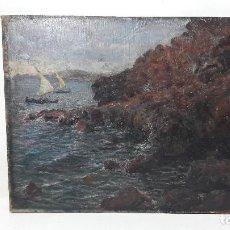 Arte: OLEO TSOBRE TELA PEGADO A TABLA, MARINA, FIRMA ILEGIBLE, MED. 44X36 CM.. Lote 183826660