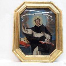 Arte: OLEO SOBRE CRISTAL SIGLO XVIII, SAN VICENTE FERRER , MEDIDAS MARCO 35X43,5 Y CRISTAL 27X35 CM.. Lote 183826961