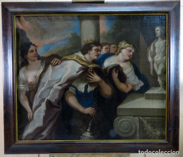 LA IDOLATRÍA DE SALOMÓN ÓLEO SOBRE LIENZO SEGUIDOR LUCA GIORDANO ESCUELA ITALIANA FINALES SIGLO XVII (Arte - Pintura - Pintura al Óleo Antigua siglo XVII)