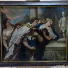 Arte: LA IDOLATRÍA DE SALOMÓN ÓLEO SOBRE LIENZO SEGUIDOR LUCA GIORDANO ESCUELA ITALIANA FINALES SIGLO XVII. Lote 183829378