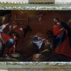Arte: ADORACIÓN DE LOS PASTORES ÓLEO SOBRE LIENZO MARCO EN MADERA TALLADA Y PLATA CORLADA PRINCIPIO XVIII. Lote 183830301