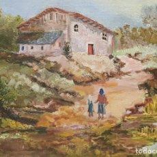 Arte: PAISAJE RURAL. DAMA Y NIÑA. ÓLEO SOBRE LIENZO.. Lote 183832143