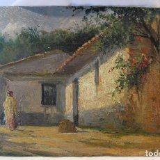 Arte: ESCENA RURAL CON DAMA. HACIA 1900. OLEO SOBRE TABLA. 10,5 X 17 CM. DE GRAN DETALLISMO. Lote 183847230