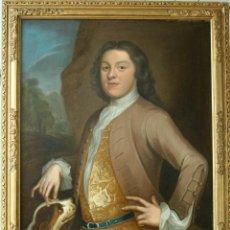 Arte: RETRATO DE BARON INGLES CON SU PERRO DE CAZA TALLER MICHAEL DAHL (1659-1743) S. XVIII. Lote 183857790