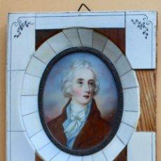 Arte: HERMOSO CUADRO MINIATURA CON MARCO DE MARFIL- WILLIAM PITT ( 1759-1806)1º MINISTRO BRITANICO. Lote 183911333