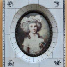 Arte: RETRATO DE DAMA EN MINIATURA CON MARCO DE MARFIL- POSIBLEMENTE S.XIX - FIRMADO LARSSEN. Lote 183913948