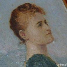 Arte: PRECIOSO RETRATO MINIATURA BELLA DAMA MUJER PERFIL SIGLO XIX OLEO SOBRE TABLA. Lote 184143310
